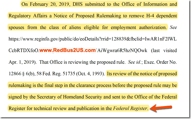 DHS Intent to Publish in Federal Register H4 EAD rule removal