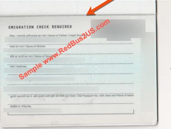 Emigration Check Required - ECR Sample Latest Passport