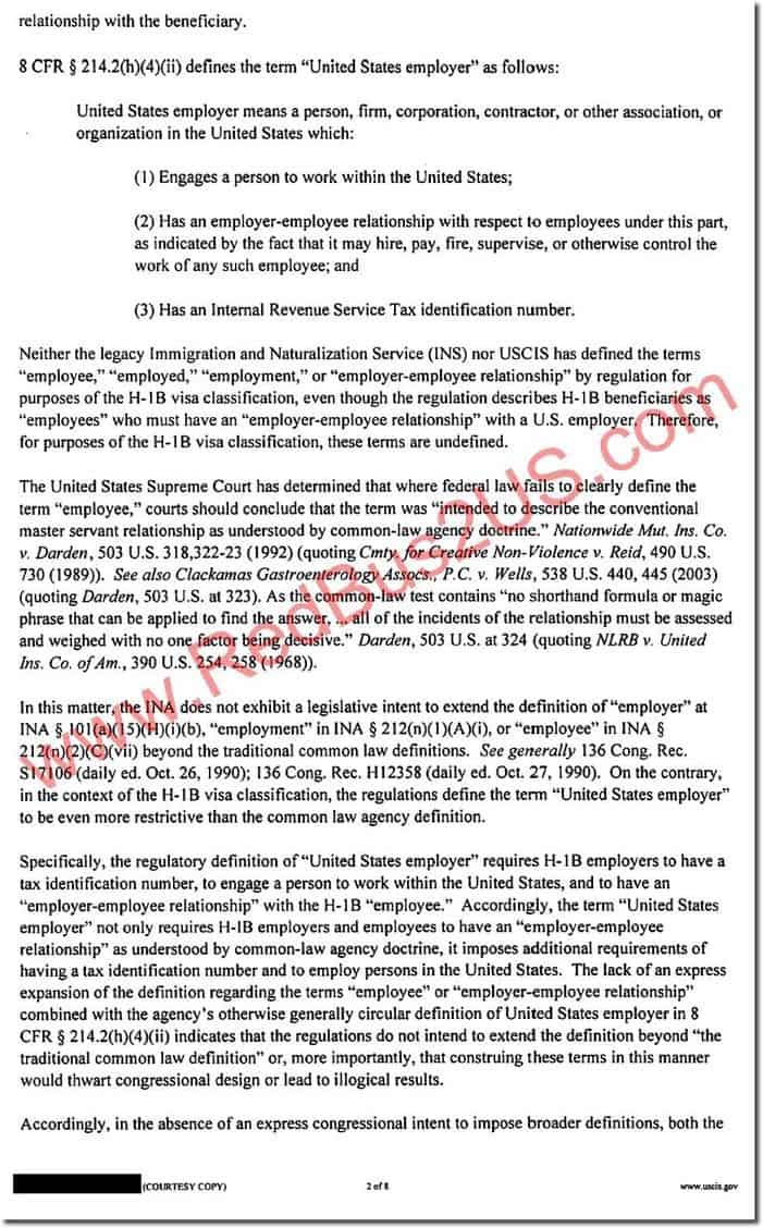 H1B Visa Denial Notice by USCIS - Sample - Employer Employee Relationship - Page 2