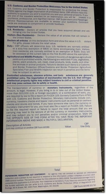 Sample U.S. Customs Declaration Form 6059B - Port of Entry - Back