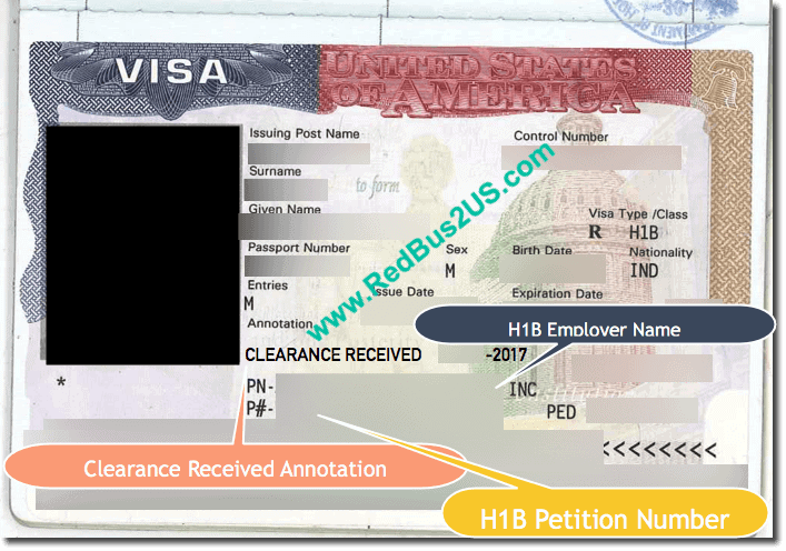 US Visa – Annotations : Clearance Received or Department