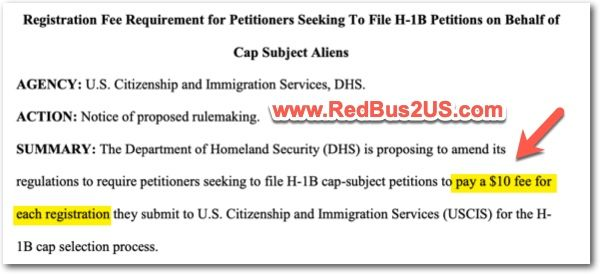 H1B Registration Fee 10 Dollars from FY 2021
