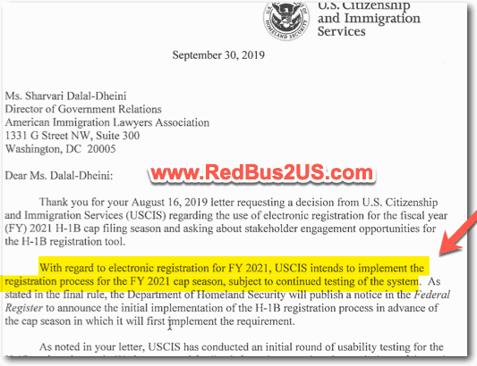 H1B Registration Update - October 2019