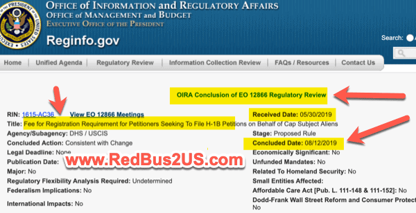 OMB Completed H1B Registration Rule - Fee Collected
