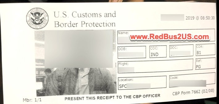 Automated Passport Control APC Kiosk Receipt Printed to give to CBP Officer