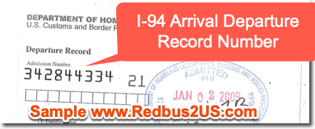 I-94 Arrival Departure Record Number