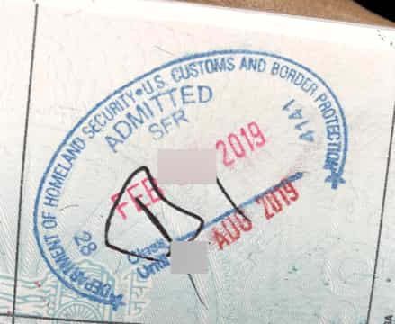 Passport Stamp of B1 Visa after APC Kiosk