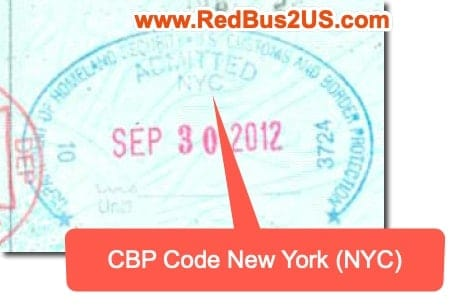Sample CBP Stamp at Port of Entry with CBP Code - NYC