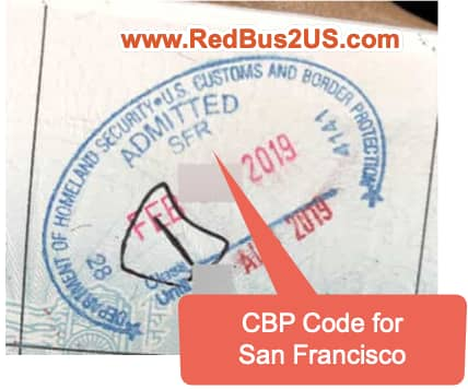Sample CBP Stamp at Port of Entry with Customs and Border Protection Code