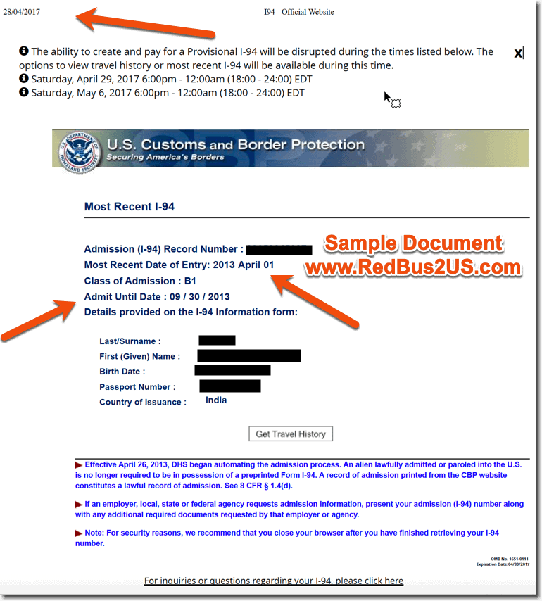 Sample Electronic I-94 Document Printed Online from 2013 - History Reference