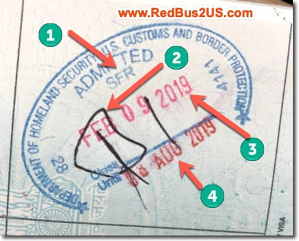 Sample US Port of Entry Stamp by CBP Officer for B1 Visa