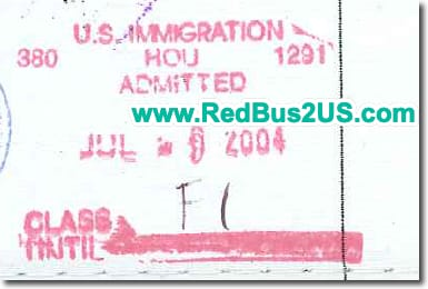 Sample US Port of Entry Stamp by CBP Officer for F1 Visa Old Version