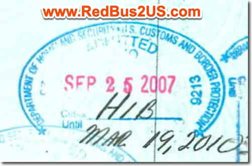 Sample US Port of Entry Stamp by CBP Officer for H1B Visa USA