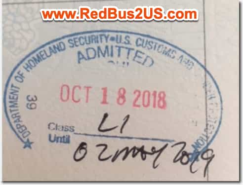 Sample US Port of Entry Stamp by CBP Officer for L1 Visa USA