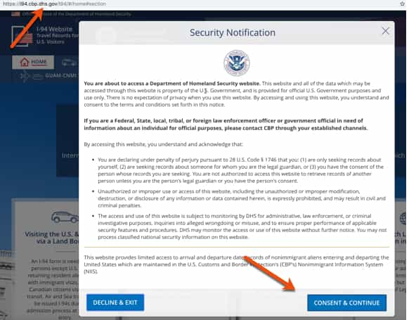 DHS Disclaimer Consent for accesing CBP Systems for Retrieving I-94 Details