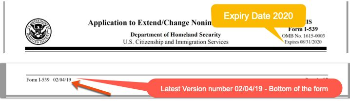 How to check New I-539 Form USCIS