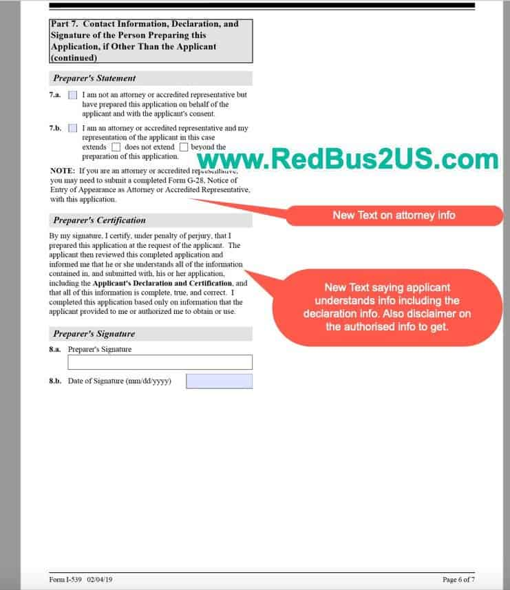 I-539 New form by USCIS 2019 Page 6
