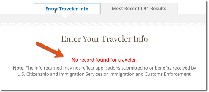 I-94 Not found Online or No Record Found for Traveller Message