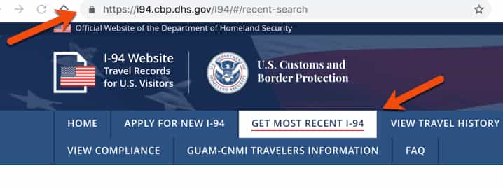Select I-94 Tab on DHS CBP Website