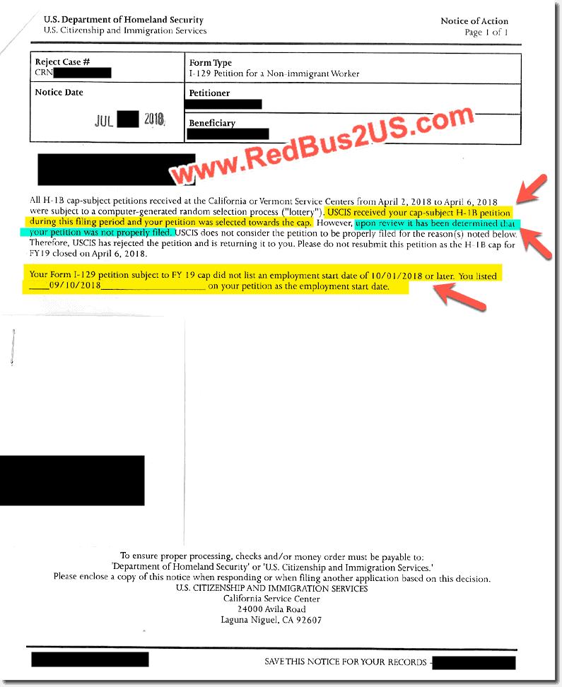H1B Sample Reject Notice - FY 2019 - Not Properly Filed