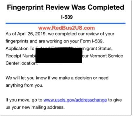 H4 Biometric Fingerprint Review Was Completed Status USCIS