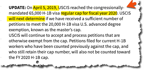 USCIS Cap reached for FY 2020 on their page