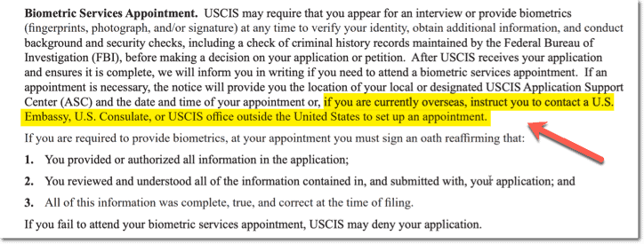 USCIS H4 Biometrics - Travel and Outside of the country