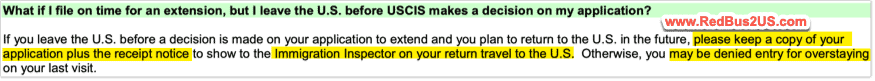 What if I leave US with my I539 Extension or COS Pending with USCIS