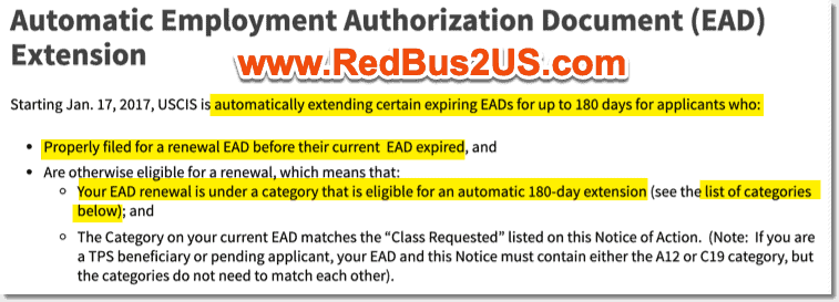 Automatic Extension of EADs USCIS Rule of 180 Days Info
