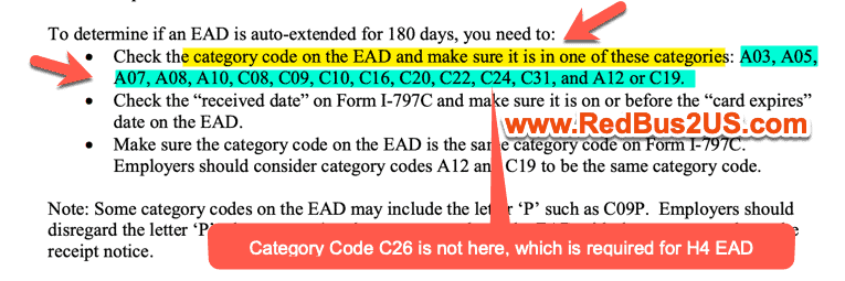 C26 Category Code not in the Fact Sheet for 180 days extension