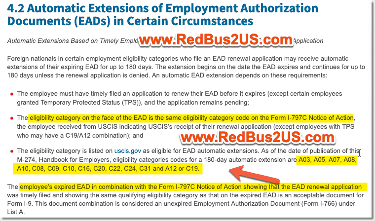 EAD Eligible Categories for USCIS i-9 Verification
