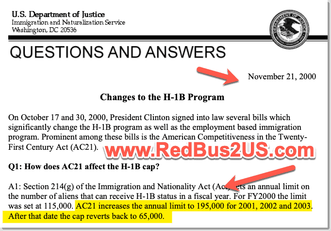 H1B Cap Changes from AC21 Rule 2004