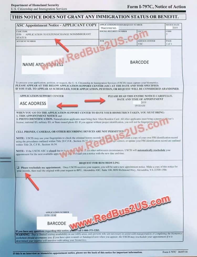 Sample H4 Extension - Change of Status - Biometrics Notice by USCIS