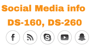 Social Media Icons in DS160 form Information and Details