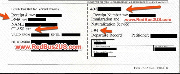 I-94 Sample given by USCIS in H1B Approval Notice