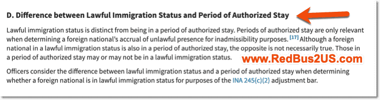 Lawful Immigration Status vs Period of Authroized Stay USCIS Guidance