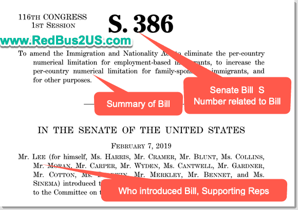 Sample Senate Bill and How it looks - Details of Sponsor - Summary and introduction
