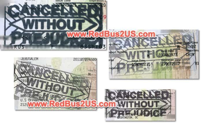 US Visa Cancelled without Prejudice Sample Stamps B1 B2 - F1 - H1B
