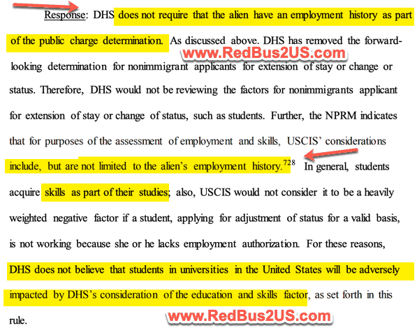 DHS Requirement for Employment History - Education Skills for Public Charge Determination