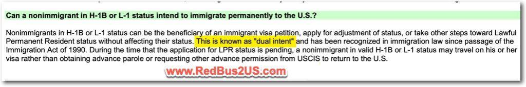 Dual Intent for H1B - L1 Visa Holder USCIS Official
