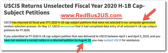 H1B 2020 Rejected Lottery Petitions returned News USCIS