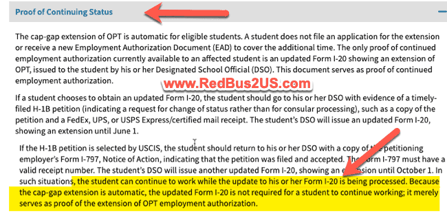 Proof of F1 Lawful Status for OPT Working USCIS Document