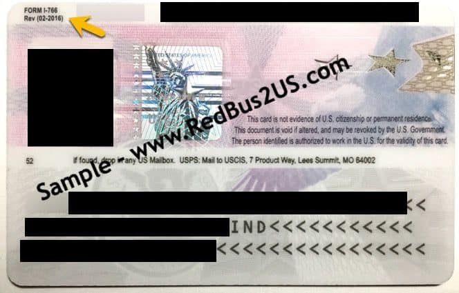 Sample H4 EAD Card - C26 Category - by USCIS - Back Side