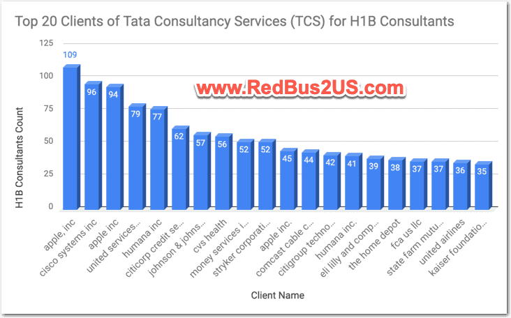 Top 20 Clients by LCA for Tata Consultancy Services - TCS