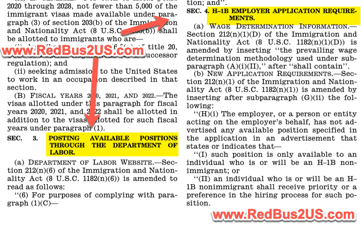 H1B and LCA Changes in HR 1044 Amendment
