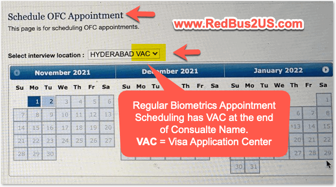Schedule OFC Appointment at VAC