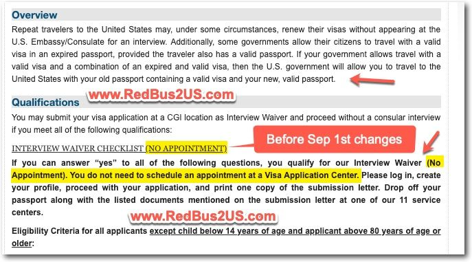 US Visa Stamping Interview Waiver or Dropbox - Info Before Sep 1st Changes