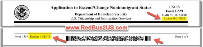 New Form I-539 Edition 10-15-2019 USCIS - Public Benefits and Public Charge Version