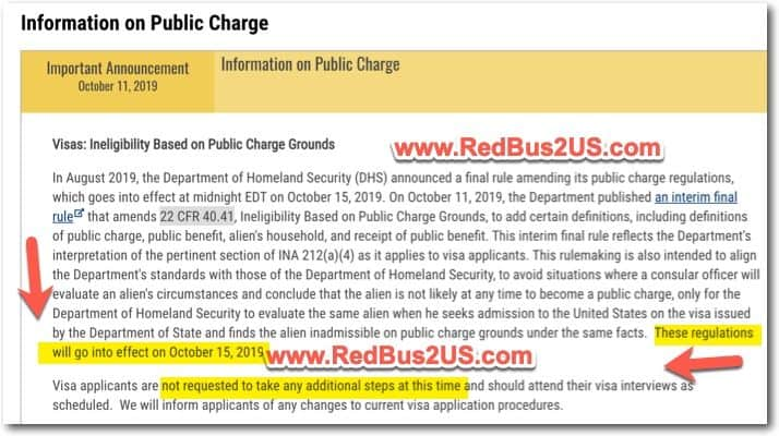 Public Charge Rule Department of State Announcement