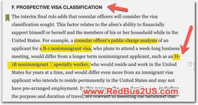 Public Charge Rule - Visa Stamping H1B - B1 - B2
